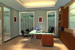 нутряной самомоднейший офис 3d представляет космос Стоковая Фотография