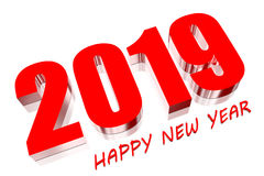3D 2019 red. Three dimensions Happy new year 2019 Stock Photos
