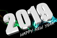 3D 2019 white. Three dimensions Happy new year 2019 Royalty Free Stock Photography