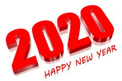 3D 2020 red. Three dimensions Happy new year 2020 Stock Photo