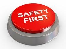 3d按钮第一安全性 库存图片