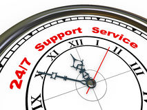 3d 24/7 support clock. 3d illustration of closeup of clock with words 24/7 support service Stock Image