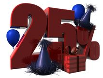 3D 25% Discount Sign Stock Images
