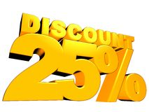 3D 25% Discount Sign Royalty Free Stock Photography
