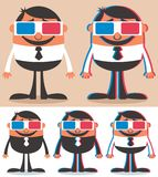 3D. Cartoon character with 3D glasses Stock Photo