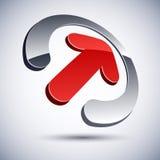 самомоднейшая икона логоса стрелки 3D. Стоковая Фотография