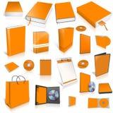 橙色3d空白盖子收藏 免版税库存照片