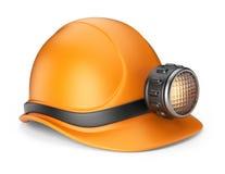 与闪亮指示的矿工帽。 3D图标   免版税库存图片