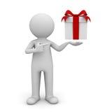 коробка подарка удерживания человека 3d Стоковые Изображения RF