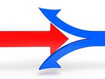 3d中断限定范围红色箭头的例证 免版税库存照片