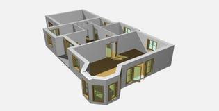 3d 4房子形象化 免版税库存图片