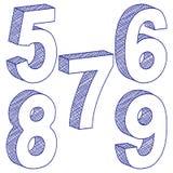 3d 5 9 rysunkowych liczb Fotografia Royalty Free