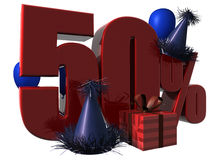 3D 50% Discount Sign. 3D Render of 50 percent sale with party hats balloons and wrapped gift isolated on a white background Stock Photos