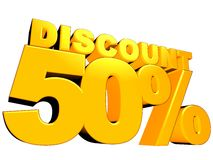 3D 50% Discount Sign. 3D render of yellow 50 percent discount sign isolated on a white background vector illustration