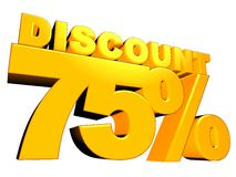 3D 75% Discount Sign Stock Photos
