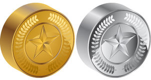 3d硬币奖牌星形 免版税库存照片