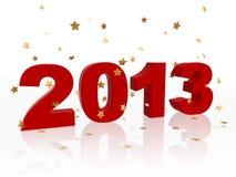 3d año 2013 en rojo y estrellas Fotos de archivo libres de regalías