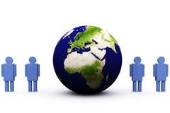 3d aarde en mens Stock Afbeelding