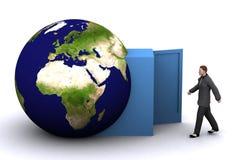 3d aarde en mens Stock Foto