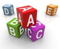 3d abc把五颜六色装箱 免版税库存图片