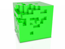 3D abstarct background - cubes isolated on white. 3D abstarct background - green cubes Stock Photo