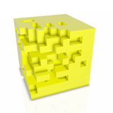 3D abstarct background - cubes isolated on white. 3D abstarct background - yellow cubes Royalty Free Stock Photos