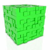 3D abstarct background - cubes isolated on white. 3D abstarct background - green cubes Royalty Free Stock Photos