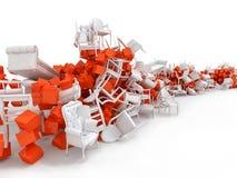 3D abstrackscène met slordige stoelen Royalty-vrije Stock Afbeelding
