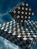 3D abstract. Illustration (render) 3D fantasy abstract with dark and light cubes like chessboard Royalty Free Stock Photo