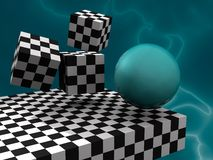 3D abstract. Illustration (render) 3D fantasy abstract with cubes like cheesboard and sphere Royalty Free Stock Images