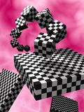 3D abstract. Illustration (render) 3D fantasy abstract with dark and light cubes like chessboard Stock Photo