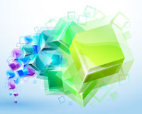 3d abstract background. With transparent cubes -  illustration Stock Photography
