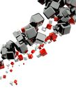 3d abstract background. With glossy red and black cubes Stock Photos
