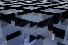 3D abstract background. 3D cubes, an abstract background in blue Stock Photography