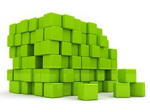 3d abstract background with green cubes. Rendering image Royalty Free Stock Photos