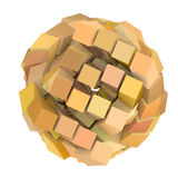 3d abstract ball shape in orange yellow. 3d abstract cube ball shape in orange yellow on white Stock Photo