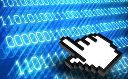 3d Abstract binary code with hand icon. Symbol of technology Royalty Free Stock Photography