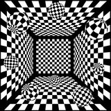 3D Abstract black and white chess background with. Balls eps Stock Photography
