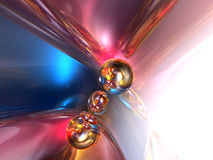 3D Abstract Blue Pink Shiny Colorful Glossy Render stock illustration