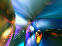 3D Abstract Blue Shiny Color Render Royalty Free Stock Photo