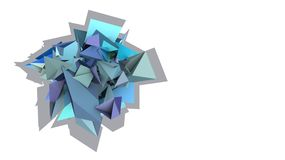 3d abstract blue spiked electric shape with shadow Royalty Free Stock Image