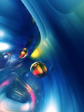 3D Abstract Blue Yellow Shiny Colorful Glossy Stock Photography