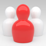 3d Abstract Character's team. With red leader Royalty Free Illustration
