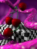 3D abstract with cherrys. Illustration (render) 3D fantasy abstract with cherrys, cubes and fantasy elements royalty free illustration