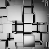 3d abstract chrome blocks. Background vector illustration