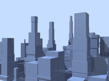 3D abstract city. In blue with reflection Royalty Free Stock Photos