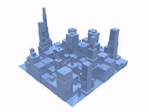 3D abstract city top view. 3D abstract city in blue with reflection Royalty Free Stock Image