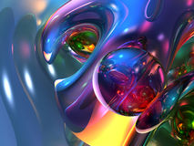 3D Abstract Colorful Glassy Wallpaper Background Stock Photos