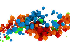 3d abstract colorful strain of spheres and cubes. On white stock illustration