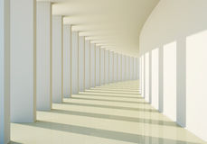3D abstract corridor. With columns and sunlight Royalty Free Stock Photography